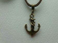 BRONZE BROWN ANCHOR CHARM ADJUSTABLE VEGAN LEATHER SUEDE CORD NECKLACE