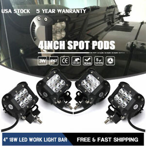 4x 4inch 18W LED Work Light Pods Flood Off-road Square Lawn Mower ATV 4X4 Truck