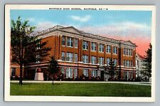Mayfield Kentucky KY High School View Vintage Color Linen Postcard 1947