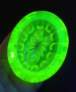 Antique Victorian Pressed Green Glass Open Master Salt Vaseline Uranium