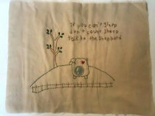 "Hand Embroidered Quilt Block ""Talk to the Shepherd"" Christian Saying 11"" x 14"""