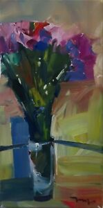 JOSE TRUJILLO OIL PAINTING EXPRESSIONISM STILL LIFE VERTICAL CONTEMPORARY ART