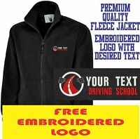 Personalised Embroidered Fleece Jacket DRIVING SCHOOL workwear UNIFORM LOGO