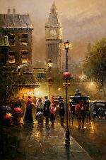 "London Street Scene With Big Ben, Original Landscape Oil Painting Art, 24"" x 36"""