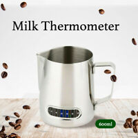 600ml Milk Frothing Thermometer Espresso Coffee Pitcher Stainless Steel Jug AU