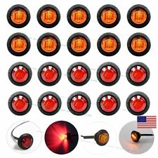 "10X Red 10X Amber Mini 12V 3/4"" Round Side 3 LED Marker Trailer Bullet Light US"