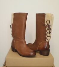 UGG Australia Women's CARY WOOL  BOOT 7US Whiskey Brown Leather NIB