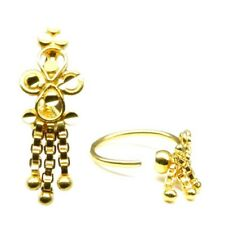 Gold Nose Hoop Ring for women Ethnic Indian Style Real Gold Nath, Solid