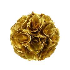 Metallic Flower Kissing Balls, Gold, 10-Inch