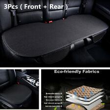 3Pcs Black Ice Silk Pad Universal Car SUV Interior Seat Cover Front Rear Cushion