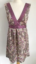 H&M Purple Grey Feather Peacock Tie Back Dress. 12. Boho. Festival. Holiday.