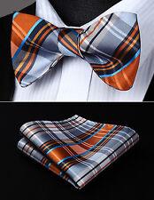 BC4011DS Orange Gray Check Bowtie Men Silk Self Bow Tie handkerchief set