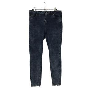 New Look Women's Size 16 EU 44 Blue Acid Wash Raw Hem Stretch Ankle Grazer Jeans