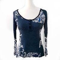Language Cool Print Floral Details Long Sleeve Shirt Blouse Top Size M