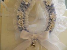 WEDDING BRIDAL HORSESHOE -BLUE SATIN & WHITE LACE -BRIDAL CHARM- 15cm GIFT BOXED