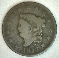 1817 Coronet Head US Large Cent Copper Coin Good 1c US Penny Coin 13 Stars