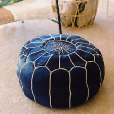 Moroccan POUF*35% OFF*with White Stitching Pouf ottoman Leather blue jean pouf