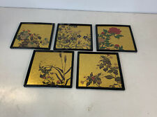 Japanese Hakuichi Original Signed Set of 5 Lacquer Ware Plates w/ Floral Dec.
