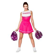 Ladies CHEERLEADER Dress with Pom Poms High School Fancy Costume Hen Party