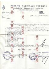 PARTITO NAZIONALE GIOVENTù  AOSTA GIL ATLETICA FIDAL 1939