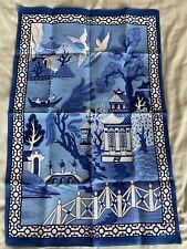 Vintage TEA TOWEL Chinese 'Willow Pattern' by ULSTER WEAVERS. 100% Linen. Unused