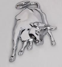3D Stier Bulle in Chrom silber Metall Auto Aufkleber