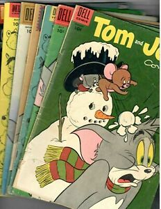 Tom and Jerry # 106,117,127,144,146,205 & #6 Winter Fun Giant Dell 1953-1961 VG+