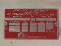 Copeland Compressor A-1 data information metal tag emblem id badge