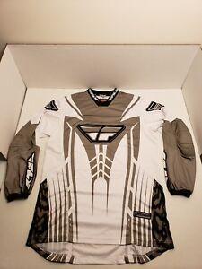 Fly Racing Motorcross Dirt Bike ATV Jersey Racewear Mens White Gray Black M
