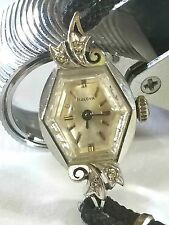 Bulova Vintage Ladies 14K Gold Diamond Watch