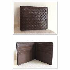 Authentic Bottega Veneta Brown Intrecciato Leather Men's Bi-Fold Wallet VG-Excnt