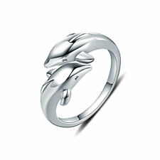 Wholesale 925 silver Plated Double Dolphin Ring Women's Fashion Jewelry Gift