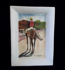 Vintage EDGAR DEGAS COPY   hand painted  ceramic made in Italy Horse Jockey