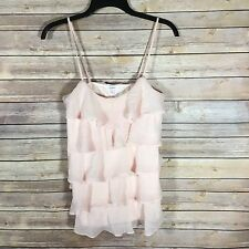 Candies Womens Small Tank Top Ruffles Tiered Blush Pink Spaghetti Straps blouse