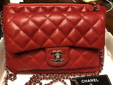100% AUTHENTIC CHANEL RED CAVIAR LEATHER CROSSBODY BAG, RARE TIMELESS