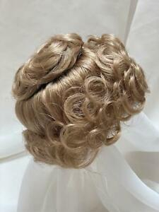 "10/11"" Bun Curls Blonde Doll Wig Reborn OOAK BJD Bisque Repair LADY DEBORAH"