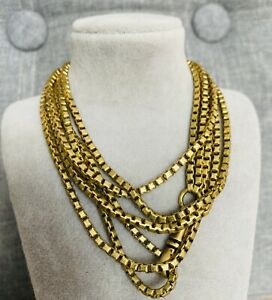 ANTIQUE VICTORIAN ROLLED GOLD GUARD / MUFF CHAIN 135 CM LONG RARE COLLECTIBLE