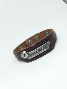 """Diesel Men's 8"""" Brown Wrist Bracelet Adjustable"""