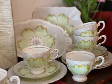 Vintage 1930s Tuscan Plant Bone China 28 Piece Tea Set Hand Painted Green Floral