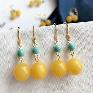 A pair 12MM Beeswax Turquoise Gemstone DIY Earrings 18K Ear hook Charming Dangle