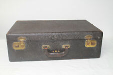 Vintage Antique Leather Suitcase Luggage Travel Carrier Shabby Chic Home Decor