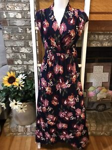 Maternity Floral Print Sleeveless Smocked Empire Waist Maxi Dress Size S or M
