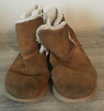 GIRLS SKECHERS GO WALK BROWN SUEDE WARM SLIP ON BOOTS SIZE 3