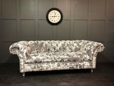 HANDMADE Velvet Chesterfield 3 Buttoned Seat Sofa Available In 24 Colours