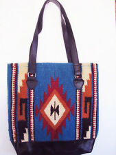 Artisan Handwoven Wool SOUTHWESTERN Turquoise Bag faux leather Zippered Tote