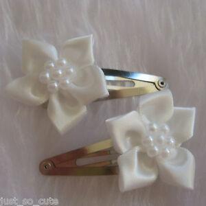 girls hair clips snap clips slides bendies flower hair clip light  ivory flowers
