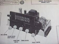 RADIO CRAFTSMEN RC-8 TUNER RECEIVER PHOTOFACT