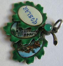 Antique German Silver & Enamel Travel Souvenir Goslar Leaf Fan Charm Pendant