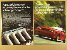 1986 VW Volkswagen Scirocco 16-Valve red car photo vintage print Ad