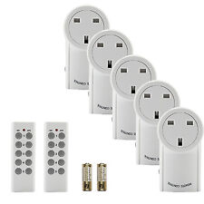 5 Pack Wireless Sockets Switch Home Mains UK Plug AC Power + 2x Remote Control
